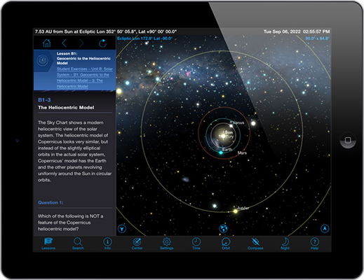 Starry Night iOS mobile app heliocentric model simulation