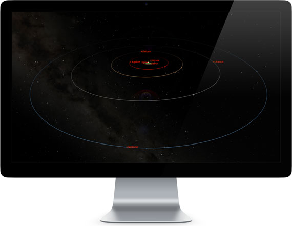 Starry Night Podium Solar System planetary orbit simulation