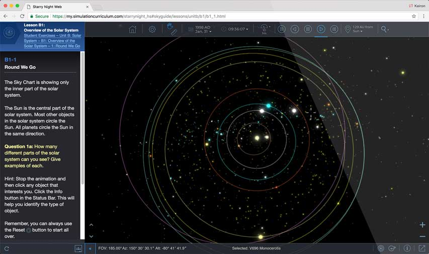 Starry Night High School Total Eclipse Simulation Screenshot